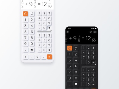 Fraction Calculator Daily UI Neumorphism Light and Dark light and dark dark mode buttons app mobile figma ui daily ui neumorphism