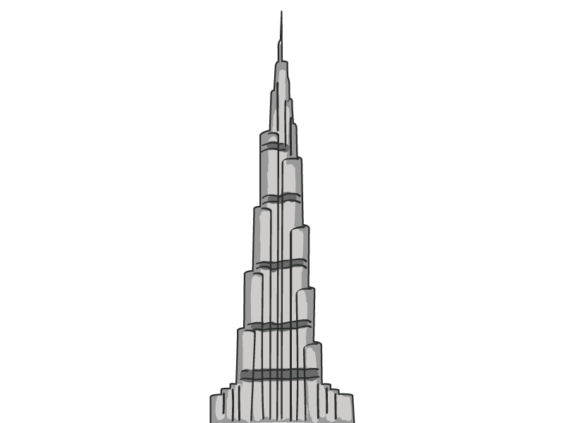 Burj khalifa by nijil david dribbble for Burj khalifa sketch