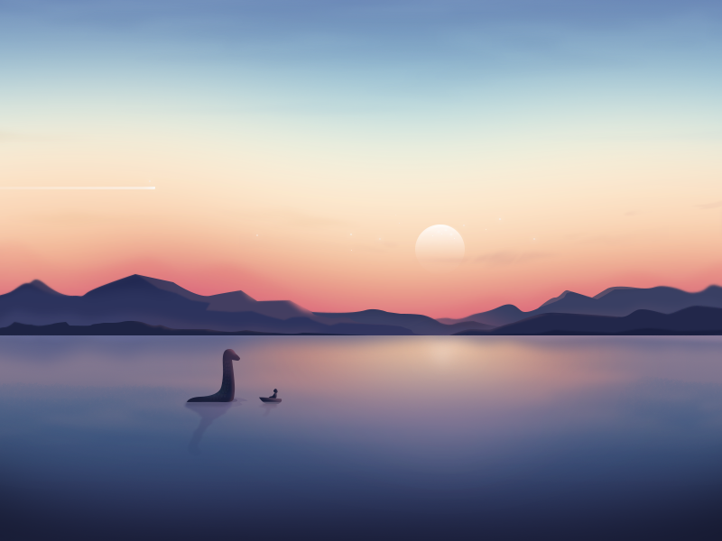 Landscape-Hello monster design illustration hello sun water ness landscape