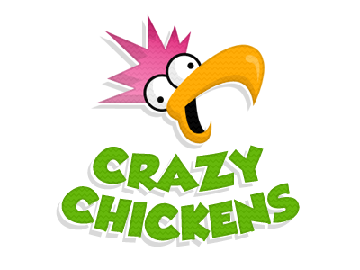 I suck at logos crazy chickens texture green pink orange logo grobold