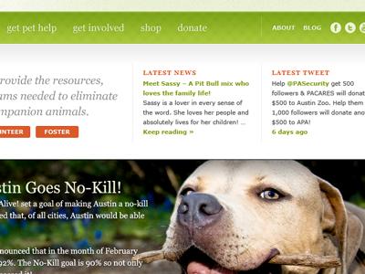 Yay dogs! header icons social network buttons orange green no-kill georgia verdana menu nav