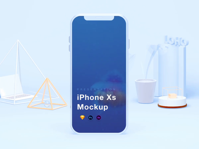 iPhone Xs Mockups [PSD+Sketch+AEP] freebies mockups iphone xs 3d app ui interface motion