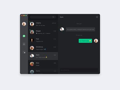 Chat interface deep dark macos social conversation wechat
