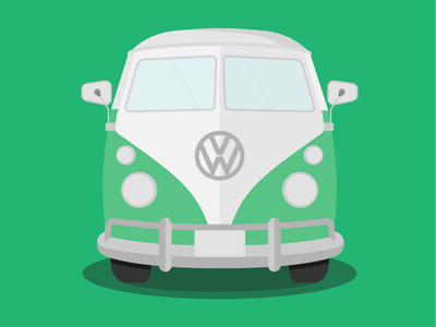 VW Camper surf beach van car illustration gif animation splitscreen camper vw