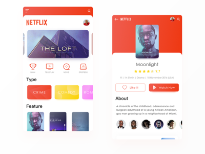 Netflix - Watch Online App 01 colors clean design app shows tv movie netflix