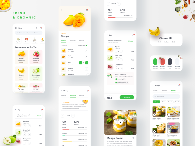 Online Ordering App shopping online shopping food recipe recipe add to cart product details product listing styleguide cart page uxdesign fruit order 2020 fresh food organic food online shop fruits and vegetables online fruits order
