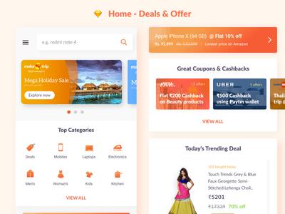 Home - Deals & Offer App ios coupon cashback offers deals shopping landing home app