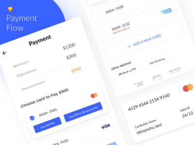 Payment Flow Design payment flow ios otp credit debit add card amount payment concept app