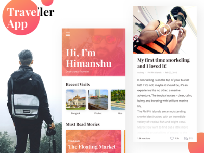 Traveller App water sports. activities visits blog design blog ios tourist travel traveller concept app