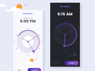 Alarm App Concept creative ideas design concept ios reminder night day set alarm app alarm