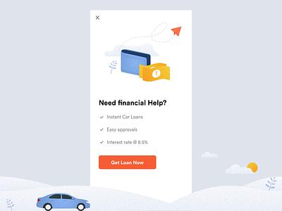 Get Loan - Popup Design graphic concept executive illustration loan car app