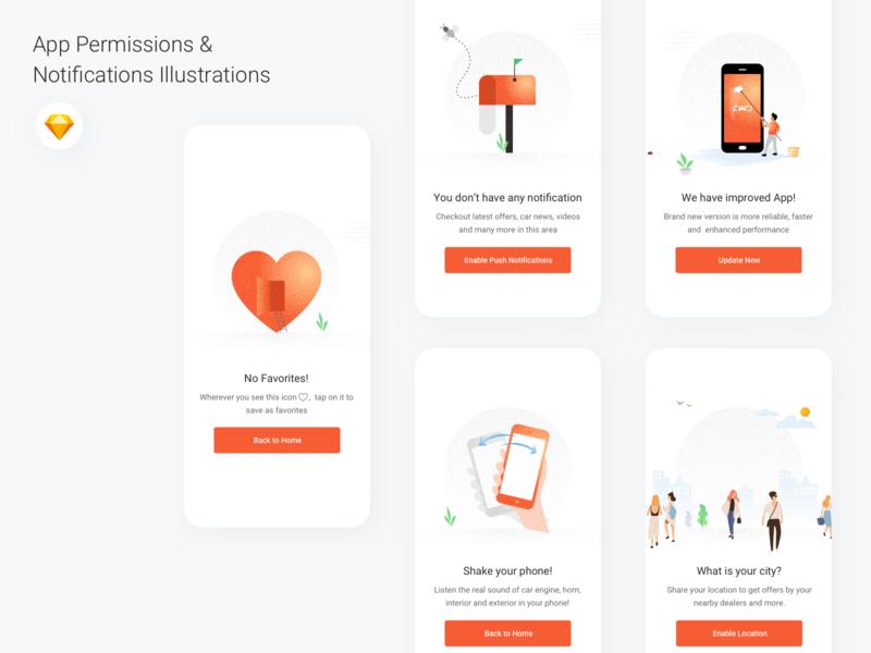 App Permission & Notifications screens - Illustration app update favorite location based location illustration concept app