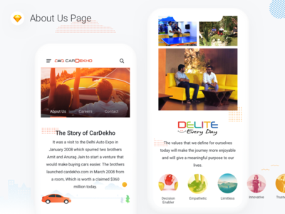 About Us Page Design - CarDekho illustration career delite growth mission vision story company about us