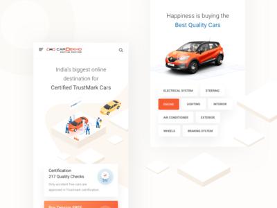 CarDekho Trustmark used cars ui trustmark car check car testing car service buy cars app