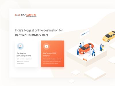 CarDekho Trustmark (WEB) buy car in india desktop web illustration sell your art trustmark cardekho used car sell car buy car cars