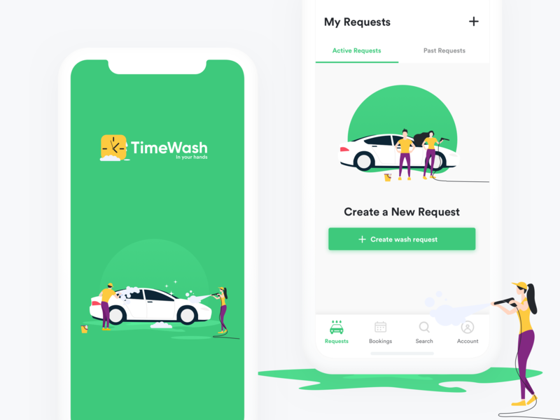 Timewash App Design purple green app inspiration app design car service car wash car vector design illustration concept app