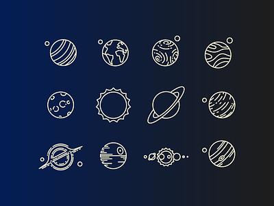 Planet icons solar blackhole jupiter mars deathstar space earth venus icon
