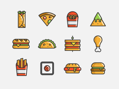 Fast Food tacos sandwich fries nachos sushi burger pizza fastfood flaticon icon