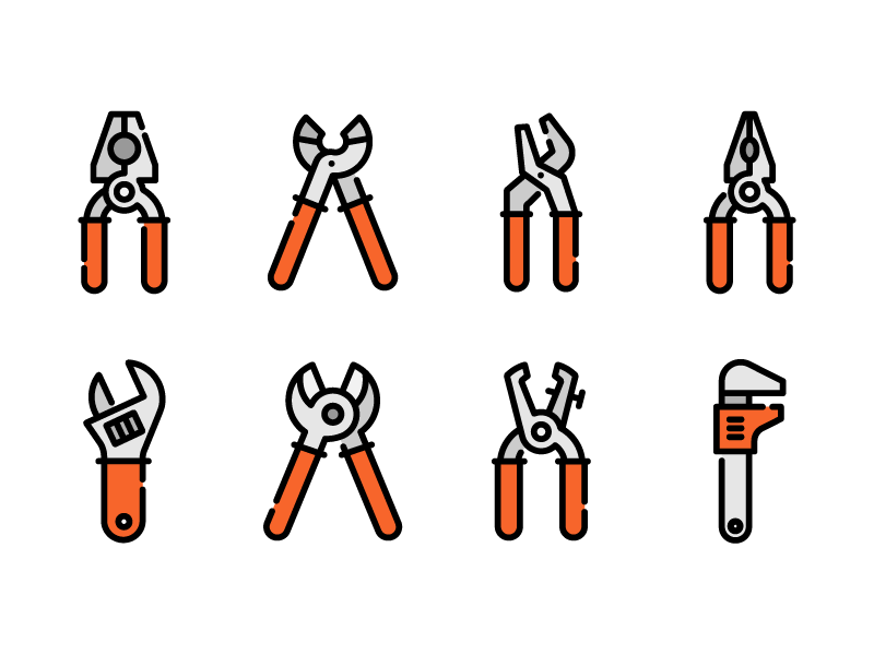 Construction tools illustrator construction tool nippers pliers icons