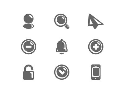 Black shiny icons