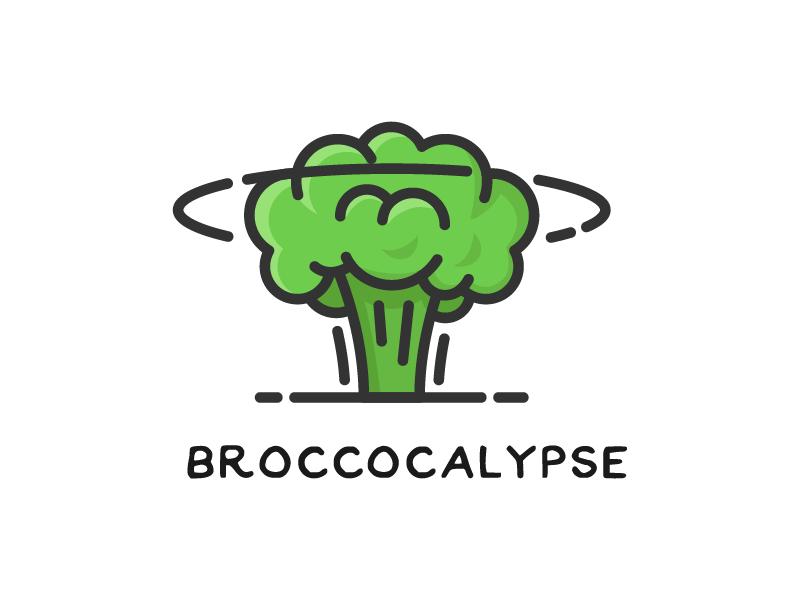 Broccocalipse vegetable logo icon explosion nuclear broccoli