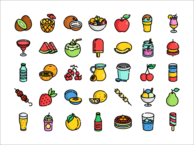 summer food and drink icons by sergey ershov dribbble