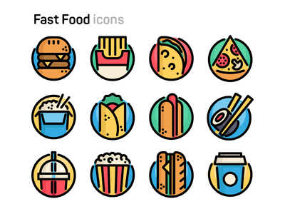 Fast Food Icons food fast pizza pop-corn sushi hot-dog tacos fries burger