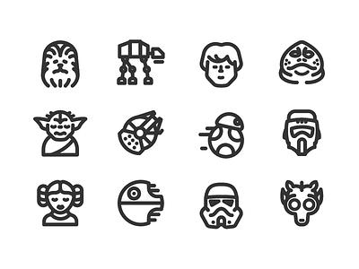 Star Wars icons 2 chubaka yoda leia sky trooper icons wars star