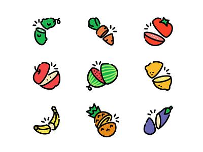 Cutting Food icon fruit vegetable food cut