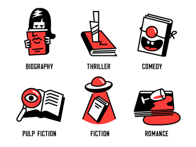 Literary Genres book biography comedy thriller romance fiction genre icons literature