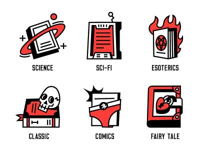 Literary Genres 2 tale fairy comics classic esoteric sci-fi science literature icons genre book