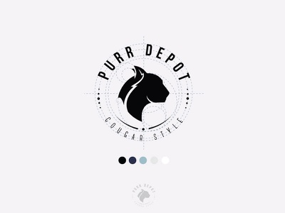 Purr Depot Apparel logo logo design icon cougar cat black apparel logo icon panther logo seal