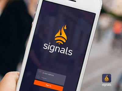 Signals logo icon logo desig app fire fire logo signals branding mobile app ui