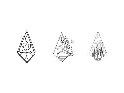 Tree icons tree scenery sketch logo icon