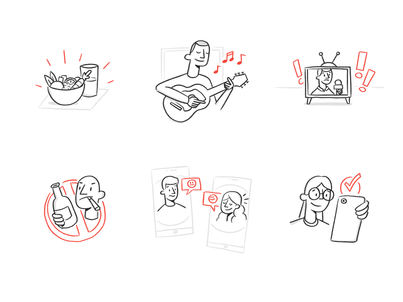 Coping with stress during COVID-19 - Illustrations freelance design coronavirus covid-19 covid19 covid procreate whiteboard black and white icons illustrations doodle hand drawn illustration