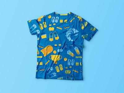 Swimming tshirt water simple freelance flat muti swimming illustration icon tshirt swimmer