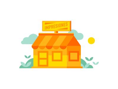 Shop illustration web google design buy store flat graphic illustration shop