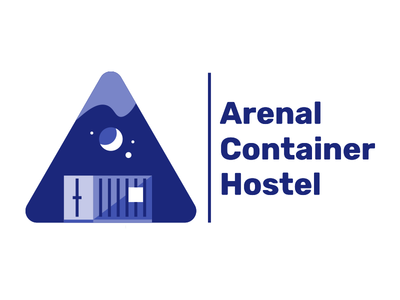 Arenal Container Hostel illustration freelance simple logo rica costa illustration hostel container arenal