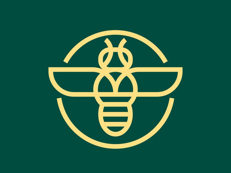 ORGANICA Consulting - Logo bulb lightbulb yellow amber teal green honeybee freelance logotype brand o branding logo bee