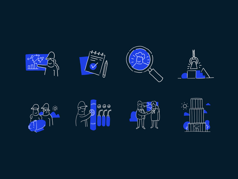 Icons Engineering icon graphic design freelance simple lines consulting illustration hand drawn engineering
