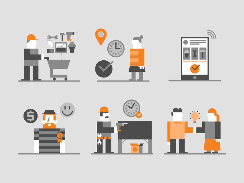 Retail geometric illustrations tools shopping grey orange illustration vector consulting geometric icon icons