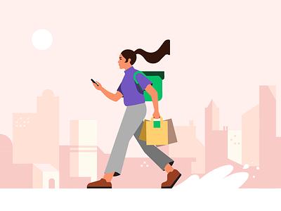 Deliver the Eats app movement walking walk city characterdesign food web delivery uber fooddelivery adobe illustrator adobe coruier ubereats illustration