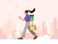 Deliver the Eats app movement walking walk city characterdesign food web delivery uber fooddelivery adobe illustrator adobe coruier ubereats illustration
