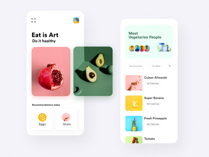 Healthy Food peoples design app app ui mobile cards ui cards ux uiux healthy health app health food app food