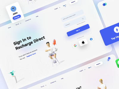 Recharge Quickly login form login page login web ux ui landingpage landing design 3d art 3d card form register signup sign up sign in