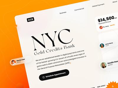 NYC Gold Credit Bank 🏦 e-comerce money app design web design web credit bank landing page landing product design product popular blur background blur glass ux ui design ui