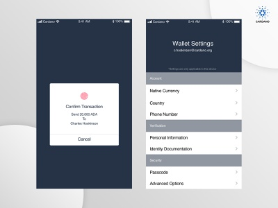 Cardano | Daedalus Staking Wallet Transactions financial crypto wallet mobile app mobile ui