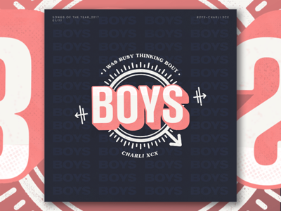 Songs of 2017 - BOYS by CHARLI XCX teeny tiny type pink vintage typography illustration music