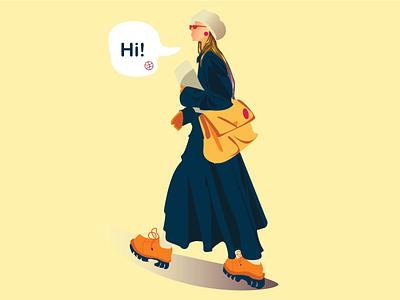 Hi! character vector adobeillustrator flat flatcharacter design illustration lineart firstshot debut