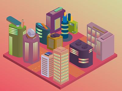 pink city! vector art 3d isometric illustration adobeillustrator